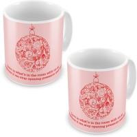 Home India Printed Design Cute Pink Coffee S Pair 604 Ceramic Mug (300 Ml, Pack Of 2)