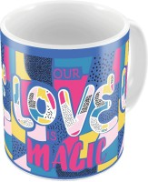 Little India Blue Designer Romantic Print Coffee  698 Ceramic Mug (300 Ml)