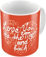 Little India Designer Romantic Print Orange Coffee S Pair 749 Ceramic Mug (300 Ml, Pack Of 2)