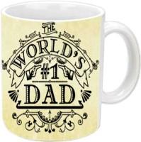 Jiya Creation1 Happy B'day Dad With Alphabets FF White Ceramic Mug (350 Ml)