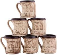 Aarzool Goa Cups Ceramic Mug (200 Ml, Pack Of 6)