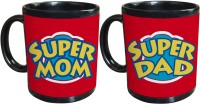 Tiedribbons Super Mom And Dad Gift For Parents Set Of 2 Ceramic Mug (325 Ml, Pack Of 2)