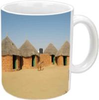 Jiyacreation1 Wonderful Rajasthani Village Multicolor White Ceramic Mug (3.5 Ml)