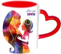 Jiya Creation1 Love You Mom Red Heart Handle Ceramic Mug (3.5 Ml)