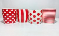 Dayinternational Red Striped & Polka Dotted Set Of Four Ceramic Mug (250 Ml, Pack Of 4)