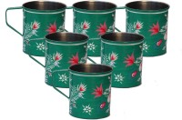 ECraftIndia Handpainted Decorative Stainless Steel Mug (180 Ml, Pack Of 6) - MUGEGCARYCWKRXBG