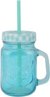 WORLDECORES BLUE MASON JAR Glass Mug (500 Ml)