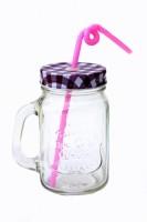 Satyam Kraft Jar With Folding Straw Glass Mug (500 Ml)