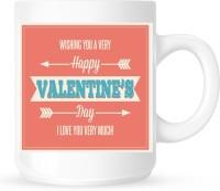 Huppme Happy Valentine In Choco Style  Ceramic Mug (350 Ml)