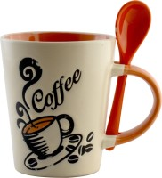 The Home Story Coffee  With Spoon Ceramic Mug (500 Ml)