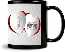 ShopMantra Couple In Umbrella Hearts Design Mug (Black, Pack Of 1)