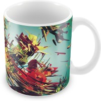 Prinzox With Stylish Abstract Colorfull Pattern Ceramic Mug (325 Ml)