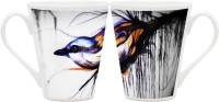 Homesogood Long Beautiful Feathers Ceramic Mug (355 Ml, Pack Of 2)
