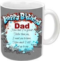 Jiya Creation1 Happy B'day Papa With Good Lines White Ceramic Mug (350 Ml)