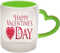 Jiya Creation1 Super Design Valentine Green Handle Ceramic Mug (350 Ml)
