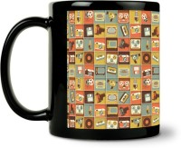 ShopMantra Music Icons Pattern Ceramic Mug (300 Ml)