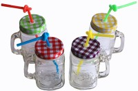 Satyam Kraft Jar With Folding Straw Glass Mug (700 Ml, Pack Of 4)
