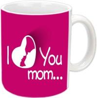 Jiya Creation1 I Love You Mom In Heart Design White Ceramic Mug (3.5 Ml)