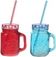 ZIDO Colorful Designer Mason Jar Glass Mug (450 Ml, Pack Of 2) - MUGEGH3YYWAPZYTQ
