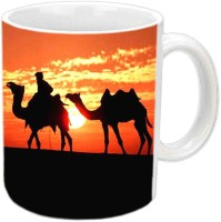 Jiyacreation1 Beautiful Sunset With Rajasthani View Multicolor White Ceramic Mug (3.5 Ml)