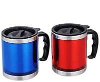 Afinito Red And Blue Stainless Steel Mug (400 Ml, Pack Of 2)