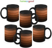 HomeSoGood Stepping Up The Stairs (Pack Of 6) Ceramic Mug (325 Ml, Pack Of 6)