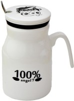 Satyam Kraft I Love My Angels  With Metal Spoon And Lid Ceramic Mug (340 Ml)