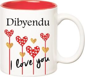 HuppmeGift I Love You Dibyendu Inner Red  (350 ml) Ceramic Mug
