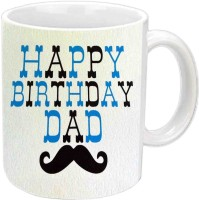 Jiyacreation1 Happy B'day Dad With Special Fonts White  Ceramic Mug (350 Ml)