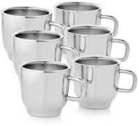 Verow Double Wall Cup Set Of 6 Stainless Steel Mug (150 Ml, Pack Of 6)