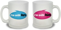 StyBuzz I M With Her And I M With Him Couple Frosted Mug Glass Mug (300 Ml, Pack Of 2)