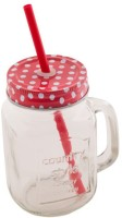 Satyam Kraft Mason Glass Jar - RED Pattern Lid With Folded Straw And Handle Glass Mug (500 Ml)