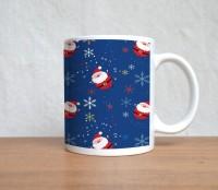 StyBuzz Cute Santa Print Blue Christmas Mug (White, Pack Of 1)