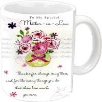 Jiyacreation1 For Mother-In-Law Happy B'day White  Ceramic Mug (350 Ml)