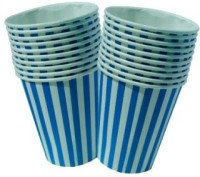 Smartcraft Striped Cup-Blue Paper Mug (100 Ml, Pack Of 10)