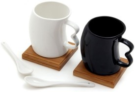 MOM Italy B&W 2 Cups With Spoons And Coasters Mug - Black, White, Pack Of 6