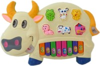 Speoma Educational Musical Cow Piano Keyboard Toy Game For Kids Children (Multicolor) (Yellow)