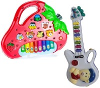 New Pinch Strawberry Shaped Animals Sound Piano With Small Guitar With Light And Sound (Multicolor)