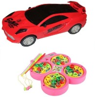 New Pinch Musical 3D Lights Car With Fishing Catching Game (Multicolor)