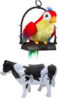 A M Enterprises Multicolour Set Of Talking Parrot & Walking Milk Cow (Multicolor)