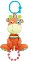 WinFun Giraffe Hand Rattle Squeaker Crinkle Sound Multi Color (Multicolor)