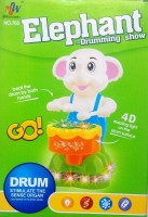 MEF Elephant Drum Show Musical Toy With 4D Dazzling Lights And 360 Degree Roaming (Multicolor)