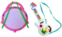 Shop & Shoppee Combo Of Flash Drum & Musical Guitar (Multicolor)