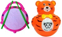 Turban Toys Combo Of Musical Flash Drum & Baby Tumbler Music Animal Roly-Poly Toy (Multicolor)