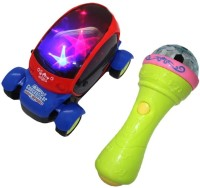 Turban Toys Combo Of Battery Operated 3D LED Light Car & Handheld Mike (Multicolor)
