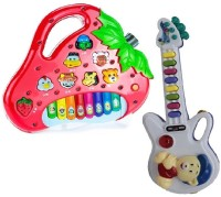 Turban Toys Strawberry Shaped Animals Sound Piano With Small Guitar With Light And Sound (Multicolor)