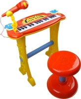 Fantasy India Electronic Symphonic Piano / Key Board Organ – Educational Musical Toy With Mp3 Plug-In Option + Sing-Along Microphone (Red)