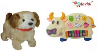LAVIDI Combo Of Two Toys Musical Cow Piano & Jumping Puppy (Multicolor)