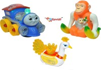 LAVIDI Combo Of Three Musical Toys Banana Monkey, Thomas Loco Engine & Yellow Beautiful Peacock (Multicolor)