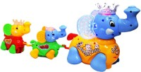 Zaprap Multicolour Cute Elephant Clever Family Toy With Music And Lights (Multicolor)